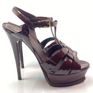 YSL Yves Saint Laurent Tribute Burgundy Sandals 39